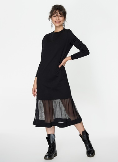 Loves You Eteği Tül Detaylı Sweat Elbise Siyah